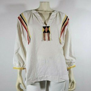 THE GREAT Ivory Oversized Embroidered Peasant Top